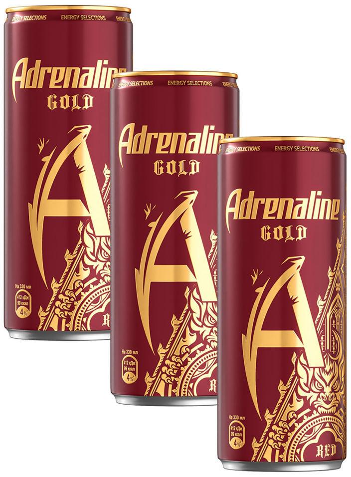 Напиток Adrenaline Gold Red энергетический Вишня 330мл (упаковка 3 шт.)