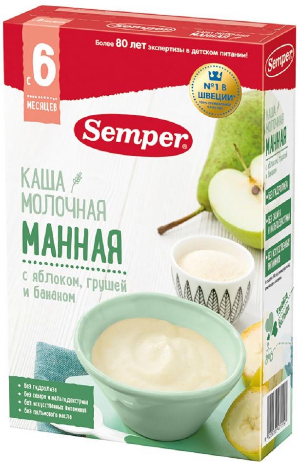 Каша Semper Манная с яблоком грушей и бананом молочная с 6 месяцев 180г (упаковка 2 шт.)