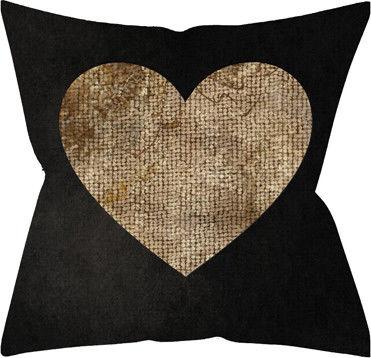 Подушка декоративная Черная и золотое сердце 40*40см
