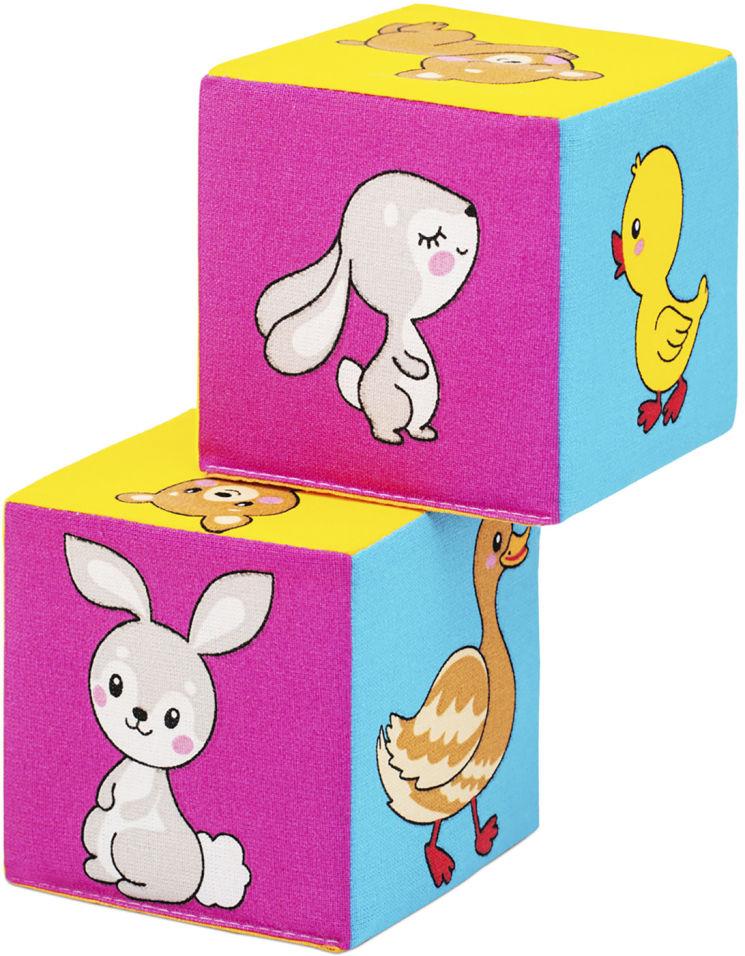 Игрушка развивающая Мякиши Мама и малыш 8*8см 2 кубика