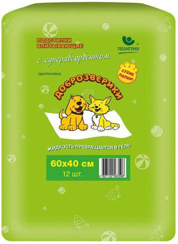 Отзывы о Подстилки для кошек и собак Доброзверики Впитывающие с суперабсорбентом 40*60см 12шт