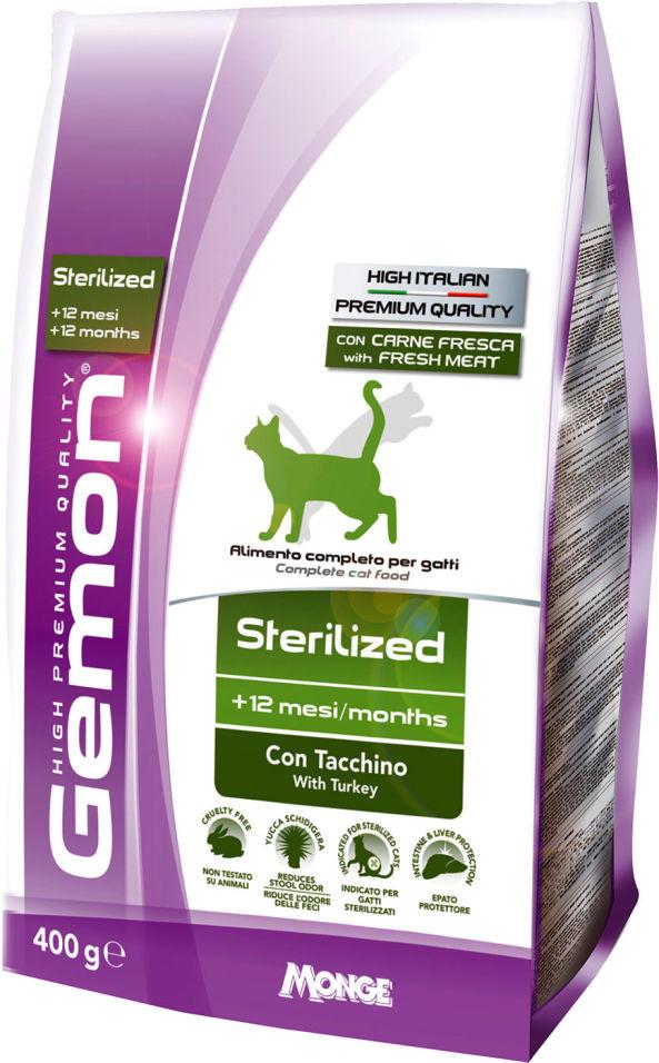 Сухой корм для кошек Gemon Cat Sterilised для стерилизованных кошек с индейкой 400г