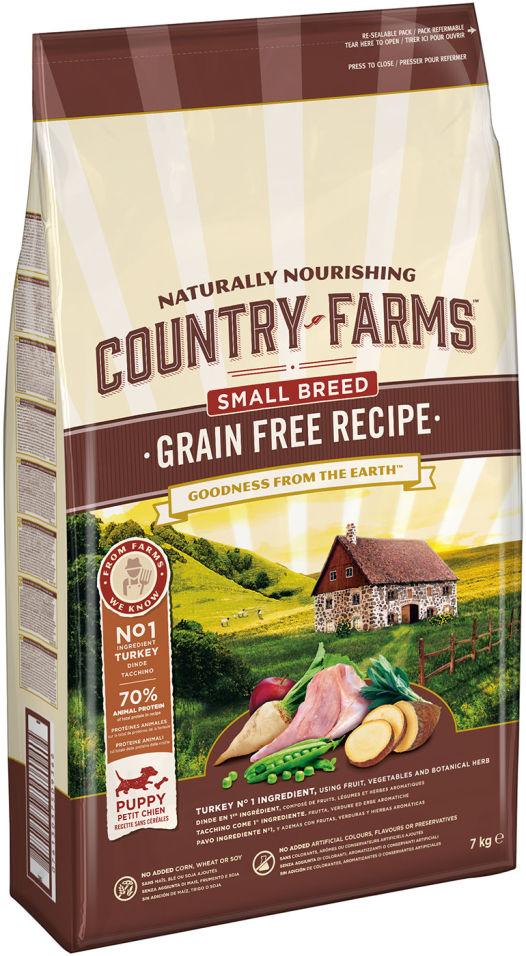 Сухой корм для щенков мелких пород Country Farms Grain Free Reсipe с индейкой 7кг
