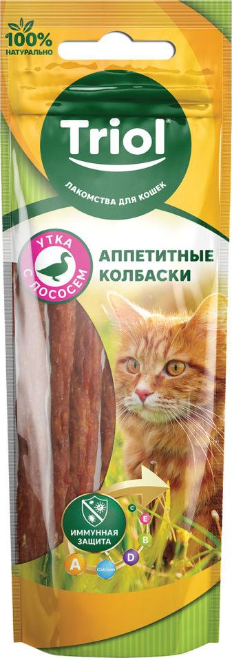 Лакомство для кошек Triol Аппетитные колбаски из утки и лосося 40г