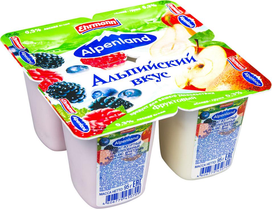 Отзывы о Продукте йогуртном Alpenland Лесная ягода Яблоко-груша 0.3% 4шт*95г