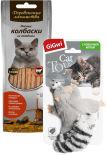 Набор Лакомство для кошек Деревенские Лакомства Мясные колбаски из говядины 45г + Игрушка для кошек GiGwi Енот с кошачьей мятой