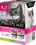 Влажный корм для кошек Pro Plan Nutri Savour Delicate для чувствительного пищеварения с ягненком и индейкой 4+1шт*85г