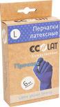 Перчатки EcoLat Хозяйственные латексные синие размер L 6шт
