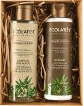 Подарочный набор Ecolatier Organic Cannabis Шампунь для волос Укрепляющий 200мл и Бальзам для волос Укрепляющий 200мл