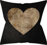 Подушка декоративная Casa Comforte Черная и золотое сердце 40*40см