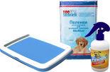 Набор для собак Туалет для собак Lilli Pet 48*40*3,8см + Пеленки Zoo Няня впитывающие для животных 60*40см 5шт + Спрей Mr.Fresh Приучение к месту для собак 200мл