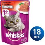 Влажный корм для кошек Whiskas Мясной паштет из говядины с печенью 18шт*85г