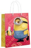 Пакет подарочный Minions большой желтый с красным 3D дизайн 22*31*10см
