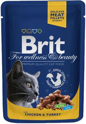 Корм для кошек Brit Premium Кусочки с курицей и индейкой 100г