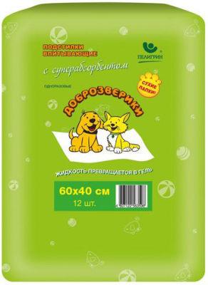 Подстилки для кошек и собак Доброзверики Впитывающие с суперабсорбентом 40*60см 12шт