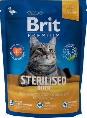 Сухой корм для стерилизованных кошек Brit Premium утка и курица 300г