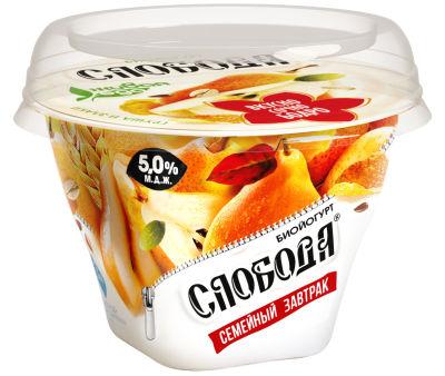 Биойогурт Слобода Семейный завтрак с Грушей Злаками и Семенами льна 5% 170г