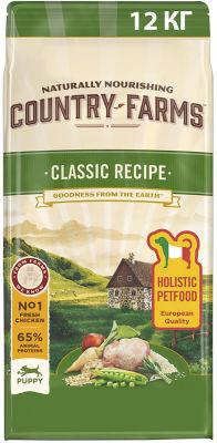 Сухой корм для щенков Country Farms Classic Recipe с курицей 12кг