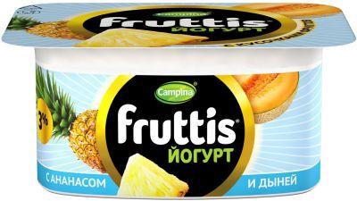 Йогурт Fruttis Ананас дыня и Клубника 3% 110г