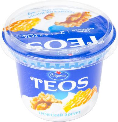 Йогурт Teos Греческий Грецкий орех-мед 2% 250г