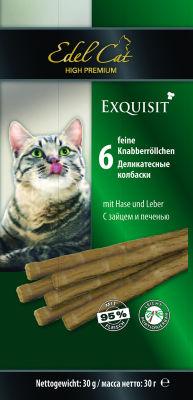 Лакомство для кошек Edel Cat колбаски с зайцем и печенью 6шт