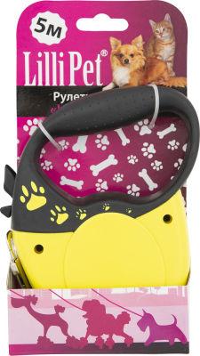 Поводок-рулетка Lilli Pet для собак S 5м 30кг желтый