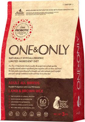 Сухой корм для собак One&Only Adult аll ягненок с рисом 3кг
