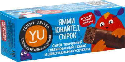 Сырок творожный Yummy United с какао и шоколадными кусочками 40г