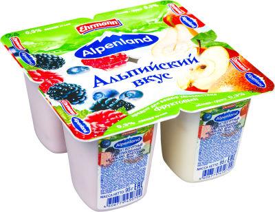 Продукт йогуртный Alpenland Лесная ягода Яблоко-груша 0.3% 4шт*95г